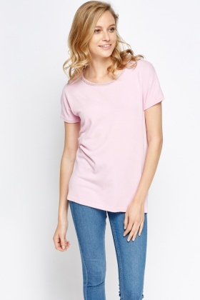 Embellished Neck Casual T- Shirt