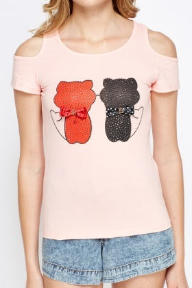 Encrusted Printed Cat Cold Shoulder T-Shirt