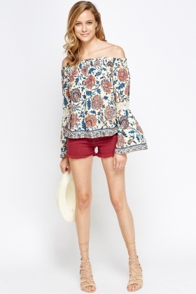 Floral Off Shoulder Flared Sleeve Top