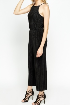 High Neck Ribbed Cropped Jumpsuit