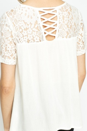 Lace Shoulder Cross Back T-Shirt