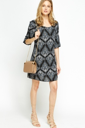 Paisley Print Low Neck Tunic Dress