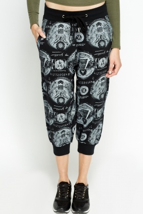 Printed Cropped Harem Pants
