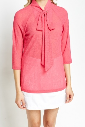 Tie Up Neck Blouse