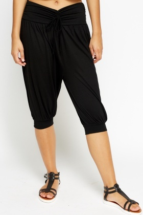 Cropped Harem Tie Waist Trousers