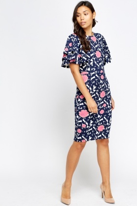 Frilled Sleeve Layered Floral Dress
