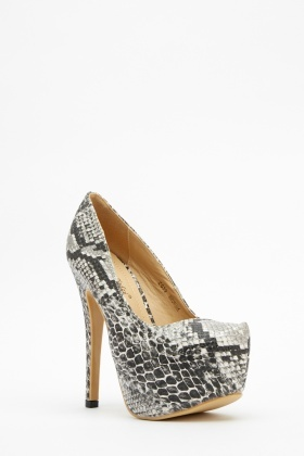 Animal Mock Croc Pattern Platform Heels