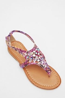 Cut Out Embellished Flip Flop Sandals