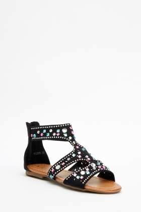 Cut Out Encrusted Ankle Sandals