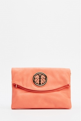 Front Detailed faux Leather Clutch Bag