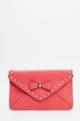 Studded Bow Front Envelope Clutch Bag