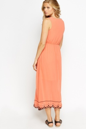 Embroidered Scallop Hem Maxi Dress