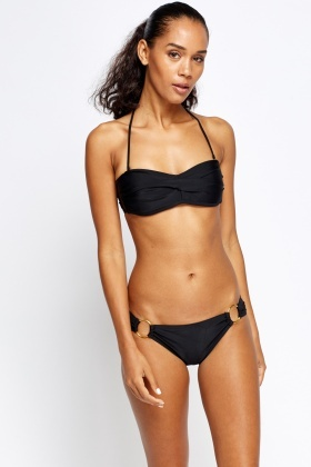 Pleated Black Halter Neck Bikini