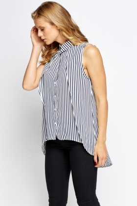 Striped Dip Hem Shirt Blouse