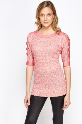 Cut Out Sleeve Woven Contrast Top