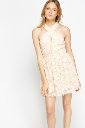 Halter Neck Lace Mini Dress