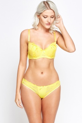 Lace Overlay Bow Bra And Brief Set