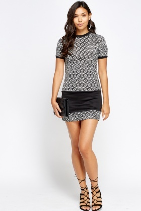 Printed Insert T-Shirt Mini Dress