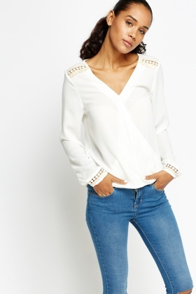 Embroidered Trim Wrap Blouse