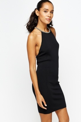 Encrusted Shoulder Bodycon Dress