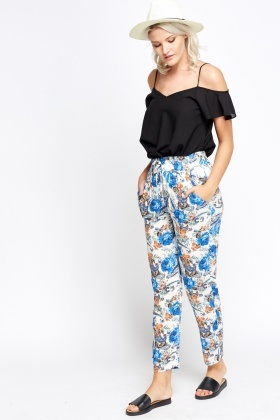 Multi Floral Printed Trousers