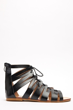 Tie Up Ankle Open Toe Sandals