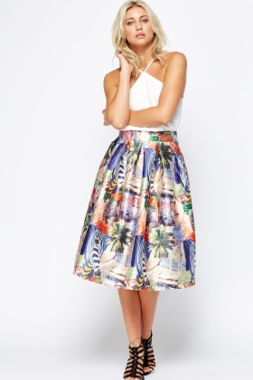 d607b7a02b Animal Zoo High Waisted Midi Skater Skirt - Just £5