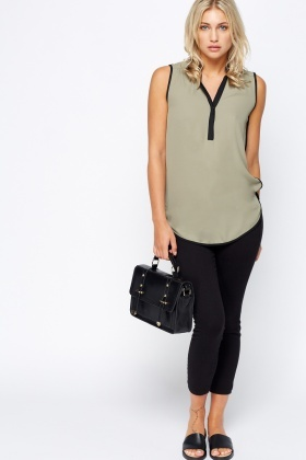 Contrast Trim Olive Sleeveless Blouse