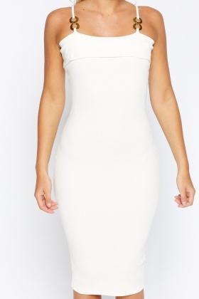 Detailed Strap Ribbed Bodycon Dress