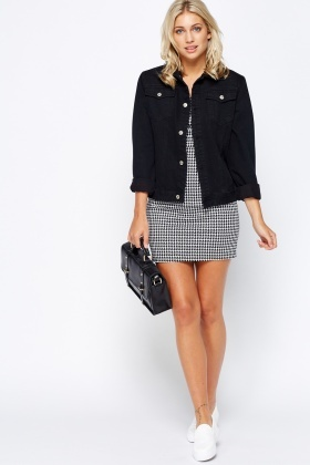Houndstooth Pinafore Mini Dress