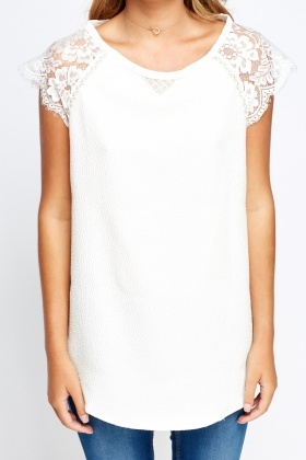 Lace Shoulder Textured Top
