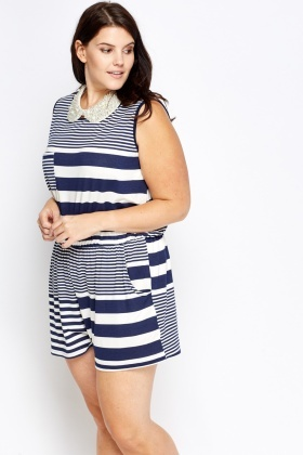 Navy Mixed Striped Playsuit