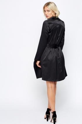 Black satin coat