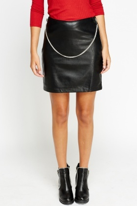 Chain Detailed Faux Leather Mini Skirt - Just £5