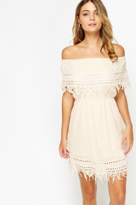 Crochet Hem Off Shoulder Dress