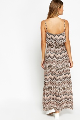 Overlay Printed Maxi Dress