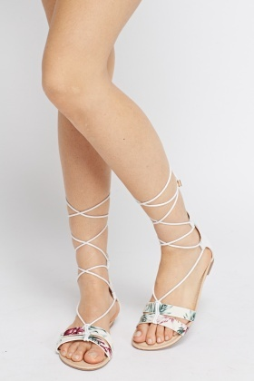 Metallic contrast Tie Up Knee Sandals