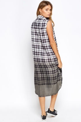 Checked Long Line Shirt