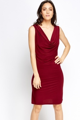 Cowl Neck Plunge Dress
