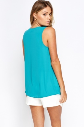 Lace Up Neck Turquoise Top