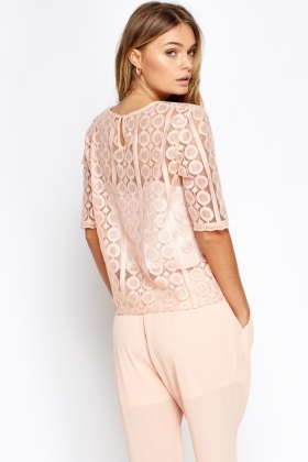 Peach Box Mesh Top