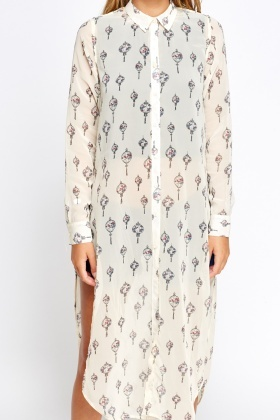 Printed Cream Long Line Shirt