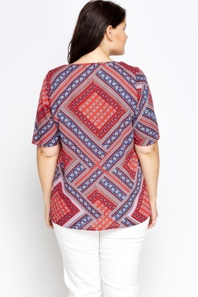 Red Geo Silky Top