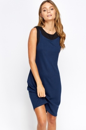 Two Tone Shift Midi Dress
