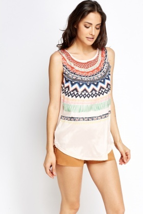 Chain Trim Printed Front Top