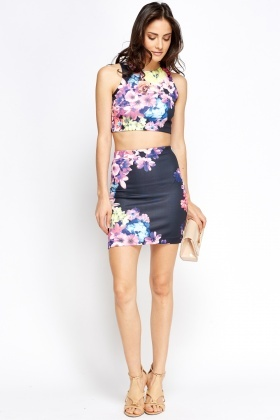 Floral Crop Top And Mini Skirt Set