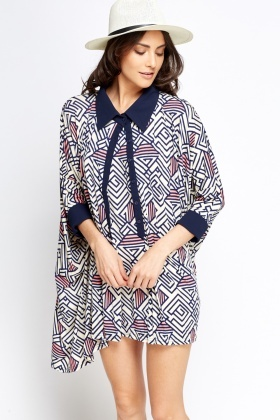 Geo Mini Button Neck Tent Dress