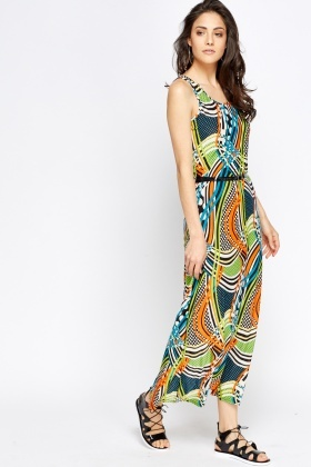 Mixed Print Belted Maxi Dress