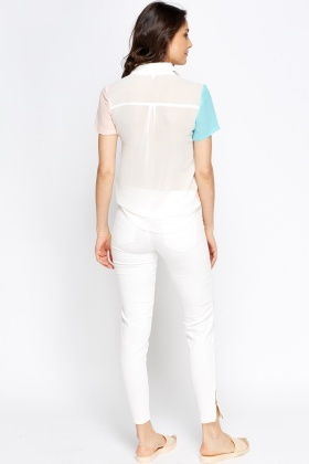 Multi Colour Sheer Blouse