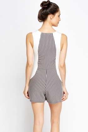 White and Grey Striped Playsuit